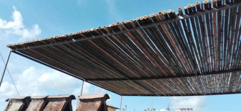 pergolato rivestito in bamboo a Roma